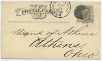 12/9 1875 Postal Card Postcard Union Bank Philadelphia Pennsylvania Postmark
