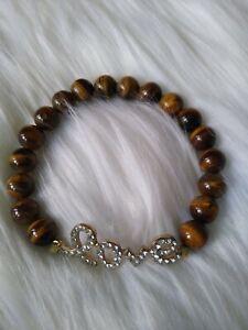 Boho Bracelet Women's Semi-precious Stones Tigers-eye Rhinestone Love Charm