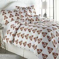 SPIRIT LINEN HOME TW Emoji Four-Piece Comforter Set, Twin, Poop