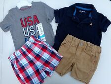 Lot of 3 Baby Gap Tee T-shirt Shorts Usa boys size 12-18 M Logo 1 new 3 pre-own