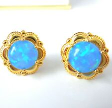 GORGEOUS BLUE FIRE OPAL GOLD PLATED STUD EARRINGS