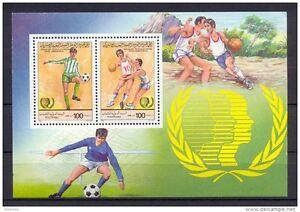 1985 – Libya- International Youth Year-Football - Basketball- Minisheet - MNH**