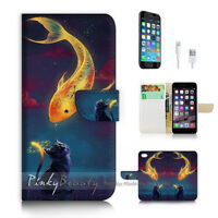 ( For iPhone 7 ) Wallet Case Cover P1966 Fish