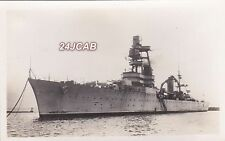 """French Navy Real Photo RPPC. """"Foch"""" Heavy Cruiser.  Scuttled Toulon. c 1930s"""