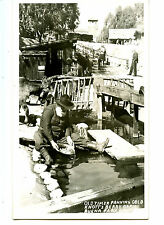 Old Man Panning Gold-Knott's Berry Farm Park-RPPC-Vintage Real Photo Postcard