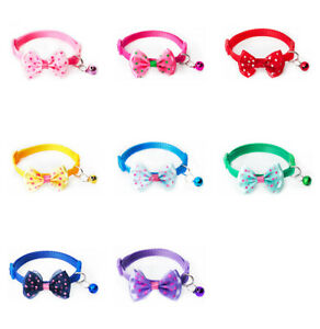 Adjustable Cat Kitten Puppy Paw Print  Collar With Bell and Bow 8 Colours