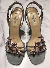 VALENTINO Gray Suede Bird Ankle Strap Sandals Heels