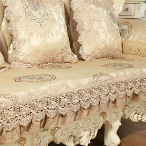 Europe Lace Floral Loveseat Slipcover Sofa Cover 3 Seater Couch Protector Luxury