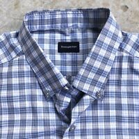 Ermenegildo Zegna Men's Shirt Cotton Plaid Long Sleeve Button Up Down XXL 2XL