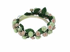 3D Flower Crown with Pink and Cream Ribbon Roses, Boho Festival Party Wedding