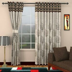 India Modern 2 Piece Polyester Curtain Set Window Drapes Door Curtain Decorative