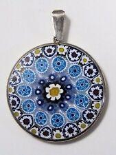VTG Venetian Glass Millefiori Sterling Silver Pendant, Italy