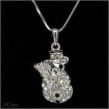 Snowmen Snow Winter Necklace Pendant Jewelry Charm Chain Silver Tone Clear 3D