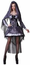 Ladies Sexy Dead Zombie Dark Bride Halloween Fancy Dress Costume Outfit 10-14