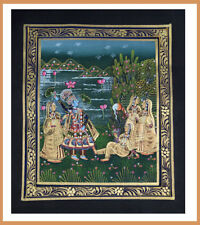 Alert Miniature Paper Painting Decor Radha Krishna Watch Elephants From Terrace Indian Art