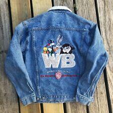 Vintage 1990s Warner Bros Looney Tunes WB Denim Sherpa Collar Jacket Small S