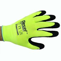12 Pair Diesel Green Safety Gloves Latex Coated Grip Cut Resistant