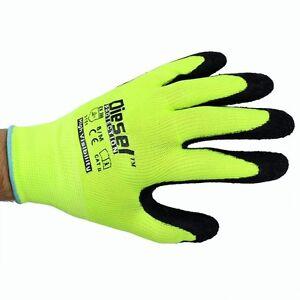 12 Pair Diesel Green Safety Gloves Latex Coated Grip Cut Resistant