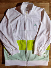 Adidas Vintage Zip Sweatshirt Track Top Jacket Jumper White Neon Green Striped
