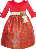 Girls Dress Fit & Flare Glitter Jacquard Christmas Holiday Size 4-10 Party