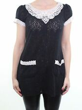 Black cream crochet knit vintage style tunic dress top size 8 - 10