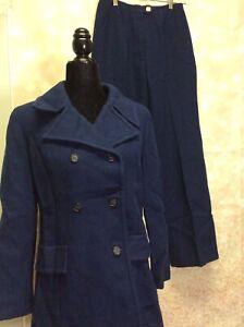 Vintage Pendleton Navy Blue Long Sleeve Notch Collar Pant Suit -Size 14  Size 8