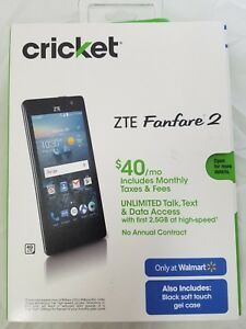 "NEW Sealed, Cricket ZTE Fanfare-2 Prepaid Smartphone, 4.5""/ 8GB/ Marshmallow 6.0"