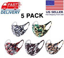 5 PCS Washable Face Mask Reusable Breathable Fashion Unisex Camouflage USA