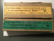 LETTERPRESS METAL TYPE ENGRAVERS TEXT #1 18PT CAPS/LOWERS/PUNCT NEW IN BOX ATF