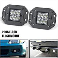 2x Flush Mount Work Light Pods LED 18W Flood Offroad Backup SUV UTE Lamp UTV ATV