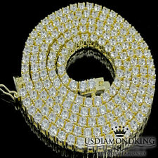 NEW 925 STERLING SILVER YELLOW GOLD FINISH ICED OUT 1 ROW TENNIS CHAIN NECKLACE
