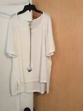 New HALO - White With Two Tone Necklace Women Top Plus Size 1X