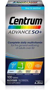Centrum Advance 50+ Multivitamin & Mineral Tablets Essential Nutrients 100 Tabs