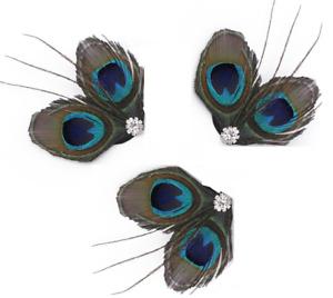 Peacock Feather Fascinator, set of 3 Hair Clips Bridal, Bridesmaid fascinator