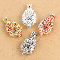 4X Hollow Flower Pattern Pearl Cage Charm Pendant Perfume Essential Oil Diffuser