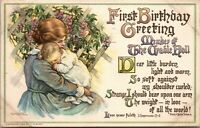 FIRST BIRTHDAY GREETINGS MOTHER AND CHILD TOPICAL VINTAGE - Posted -  POSTCARD