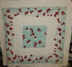 Vintage 1950s Red Cherries on Light Blue Turquoise 47x51 Tablecloth