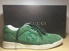 NIB Gucci Prince Nappa Moorea Grass Green Suede Low Top Lace Up Sneaker 8 G 9 US