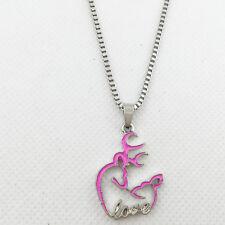 New 1pcs pink Browning Deer necklace Women gift Jewelry Dangle Heart Earrings#1