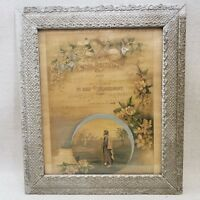 Antique Marriage Certificate Framed Document 1920's Vintage Intricate Frame