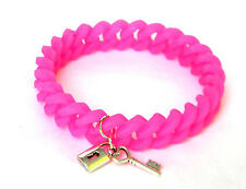 Lock & Heart Key Brite Pink Silicon Link Bracelet Ships from USA Free Ship!