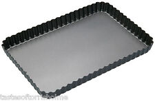 MASTERCLASS Grand 30cm x 20cm RECTANGLE EN VRAC FOND plissé quiche Flan canette