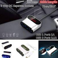 NEW 3 Way Car Cigarette Lighter Socket Splitter Charger 12V 24V USB Port Switch