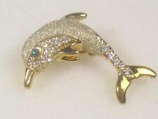 Designer Vintage Dolphin Pin Brooch Sea Life Gold Sandstone Crystals 1100Gup