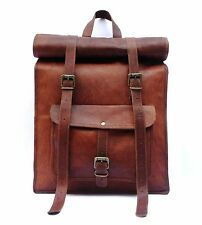 Leather Roll Bag S Men Backpack Genuine Travel Top Rucksack New Brown women Bag