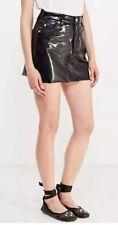 Topshop Moto Black Shiny PVC Vinyl Vtg Goth Fetish Mini Skirt 8 4 36