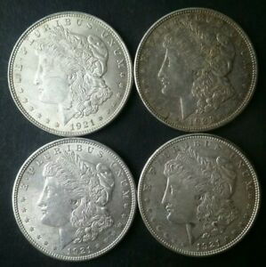 Lot of Four 1921 $1 Morgan Silver Dollars