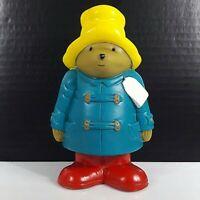 """Vintage Piggy Bank Paddington Bear 1996 Vinyl Yellow Hat Collectible Toys 6"""""""