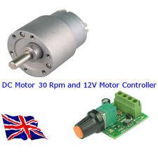 12 Volt DC MOTOR 30 RPM e controller come un pacchetto-disponibile nel Regno Unito