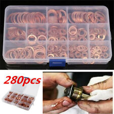 280pcs Engine Oil Drain Plug Copper Crush Washer Seal O-Ring Gasket 12 Sizes Box